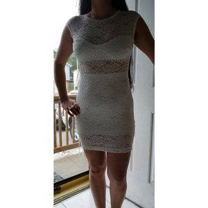 White lace dress with exposed zipper